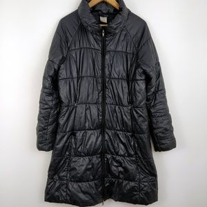 Patagonia Long Black Quilted Parka Coat Large
